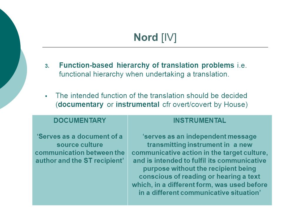 Nord [IV] Function-based hierarchy of translation problems i.e. functional hierarchy when undertaking a translation.